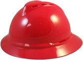 MSA Advance Full Brim Vented Hard hat with 4 point Ratchet Suspension Red - Oblique View