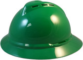 MSA Advance Full Brim Vented Hard hat with 4 point Ratchet Suspension Green - Oblique View