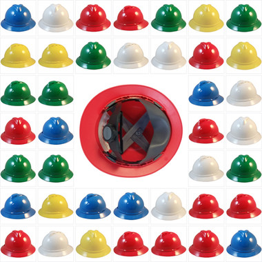 MSA Advance Full Brim Vented Hard hat with 4 point Ratchet Suspensions