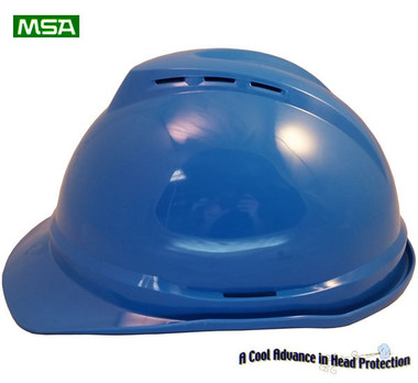 MSA Advance Blue 6 point Vented Hard Hats with Ratchet Suspensions pic 1