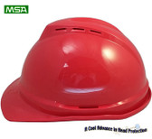 MSA Advance Red 6 point Vented Hard Hats with Ratchet Suspensions pic 1