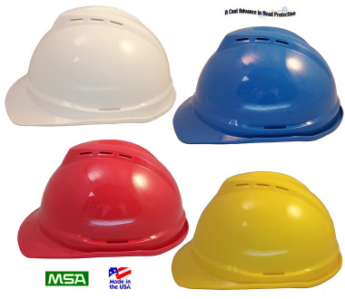 MSA Advance Vented Hard Hats with 6 Point Ratchet Suspensions