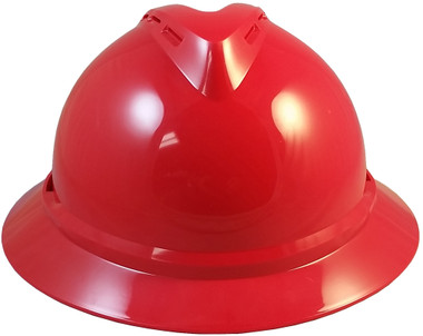MSA Advance Full Brim Vented Hard hat with 6 point Ratchet Suspension Red - Front View