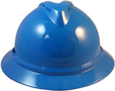 MSA Advance Full Brim Vented Hard hat with 6 point Ratchet Suspension Blue - Front View