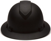 Pyramex 6 Point Full Brim Black Ridgeline Style Hard Hat with RATCHET Suspension Graphite pattern Front View