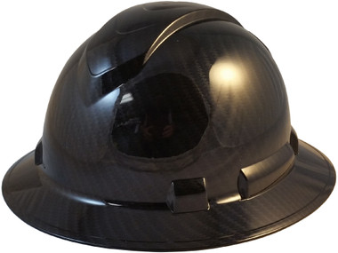 Pyramex Ridgeline Full Brim Hard Hat Shiny Black Graphite Pattern - Oblique View
