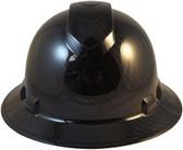 Pyramex Ridgeline Full Brim Hard Hat Shiny Black Graphite Pattern - Front View