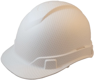Oblique View Pyramex Ridgeline Cap Style Hard Hat with White Graphite Pattern