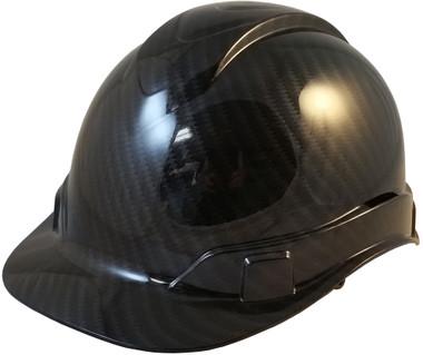 Pyramex Ridgeline Cap Style Hard Hat Shiny Black Graphite Pattern - Oblique View