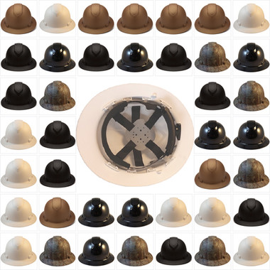 Pyramex Full Brim RIDGELINE Hard Hats - 6 Point Ratchet Suspensions