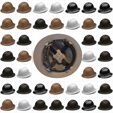Pyramex Full Brim RIDGELINE Hard Hats - 4 Point Ratchet Suspensions - All Patterns