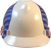 MSA V-Gard Cap Style Patriotic Hard Hat with Dual American Flag on Both  Sides - One Touch Suspension 6e49beae14dd