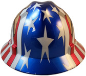 MSA Full Brim Patriotic Hard Hat with USA Flag and 2 Eagles - One Touch  Suspension 96a9f0a4577b