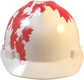 MSA V-Gard WHITE Shell Canadian Flag Hard Hats - Front View