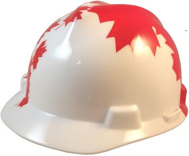 MSA V-Gard WHITE Shell Canadian Flag Hard Hats - Oblique View