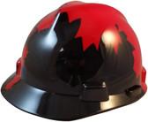 MSA V-Gard BLACK Shell Canadian Flag Hard Hats - Oblique View