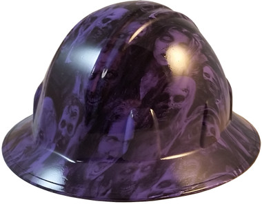 Purple Zombie Full Brim Style Hydro Dipped Hard Hats - Oblique View