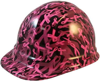 Cancer Awareness Pink Cap Style Hydro Dipped Hard Hats - Oblique View