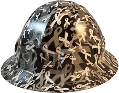 Cancer Awareness White Full Brim Hydro Dipped Hard Hats - Oblique View