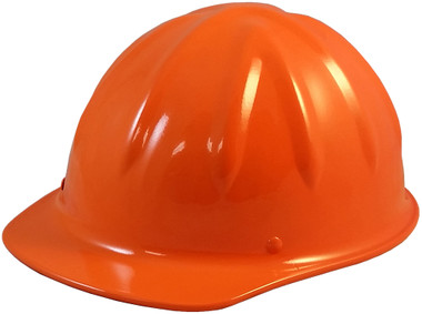 SkullBucket Aluminum Cap Style Hard Hats with Ratchet Suspensions - Hi Viz Orange - Oblique View