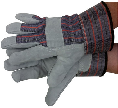 Leather Work Gloves w/ Pile Lining & Safety Cuff Gloves front