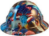 Liberty and Freedom Hydro Dipped Hard Hats Full Brim Style  - Oblique View