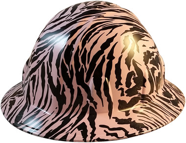 Zebra Hot Pink Hydro Dipped Hard Hats Full Brim Style - Oblique View