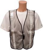 Light Gray Soft Mesh Plain Safety Vest with Silver Stripes