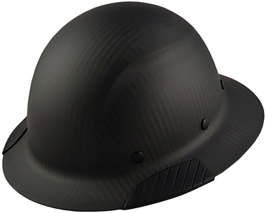 Actual Carbon Fiber Hard Hat - Full Brim Matte Black  - Left Side View