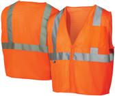 Pyramex Class 2 Self Extinguishing Mesh Hi-Vis Orange Safety Vests w/ Silver Stripes