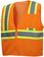 Pyramex Class 2 Hi-Vis Mesh Orange Safety Vests w/ Contrasting Stripes ~ Front View