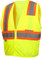 Pyramex Class 2 Self Extinguishing Hi-Vis Mesh Lime Safety Vests w/ Contrasting Stripes ~ Front View