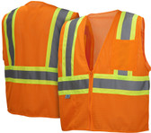 Pyramex Class 2 Self Extinguishing Hi-Vis Mesh Orange Safety Vests w/ Contrasting Stripes