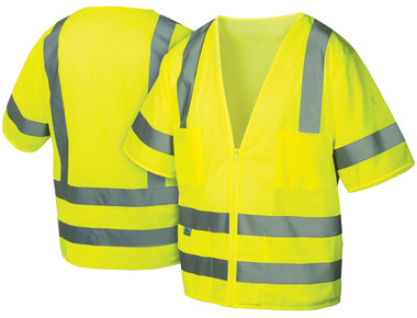 Pyramex Class 3 Hi-Vis Mesh Lime Safety Vests w/ Silver Stripes