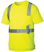 Pyramex Class 2 Hi-Vis Lime T-Shirts, 1 Pocket w/ Silver Stripes ~ Front View