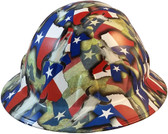 Texas Pride Full Brim Style Hydro Dipped Hard Hats - Oblique View