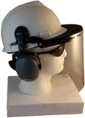 MSA V-Gard Cap Style hard hat with Polycarbonate Clear Faceshield, Hard Hat Attachment, and Earmuff - White Side