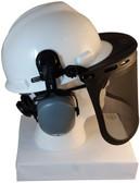 MSA V-Gard Cap Style hard hat with Smoke Mesh Faceshield, Hard Hat Attachment, and Earmuff - White hard hat- side