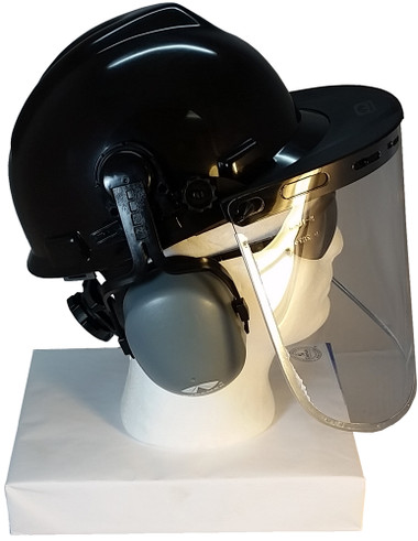 MSA V-Gard Cap Style hard hat with Clear Aluminum Bound Edges Faceshield, Hard Hat Attachment, and Earmuff - Black ~ Right Side View