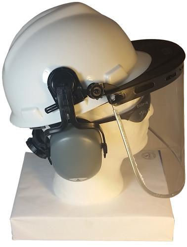 MSA V-Gard Cap Style hard hat with Clear Aluminum Bound Edges Faceshield, Hard Hat Attachment, and Earmuff - White MSA V-Gard Cap Style hard hat with Clear Aluminum Bound Edges Faceshield, Hard Hat Attachment, and Earmuff - White - Right Side View