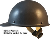 MSA Skullgard Cap Style Hard Hats With Swing Suspension Textured GUNMETAL - Swing Suspension in Normal Position