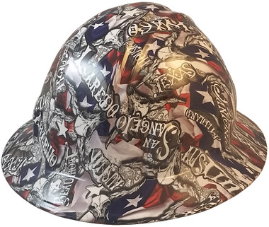 Sweet Home Texas Hydro Dipped Hard Hats Full Brim Style - Oblique View