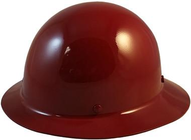 MSA Skullgard Full Brim Hard Hat with FasTrac III Ratchet Suspension - Maroon  - Oblique View