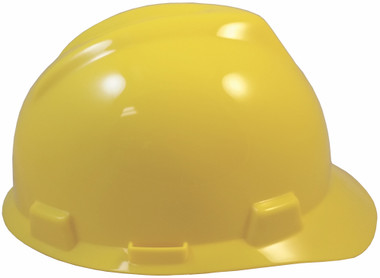 MSA V-Gard Cap Style with Fas Trac III Suspension - Yellow (Older Dates) Right Side View