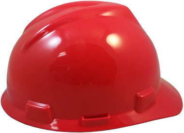 MSA V-Gard Cap Style with Fas Trac III Suspensions - Red (Older Dates)
