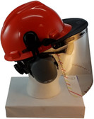 MSA V-Gard Cap Style hard hat with Clear Faceshield, Hard Hat Attachment, and Earmuff - Orange Right Side