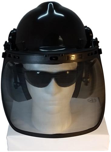 MSA V-Gard Cap Style hard hat with MSA V-Gard Cap Style hard hat with Pyramex Smoke Mesh Faceshield - Black - Front View Earmuffs Down