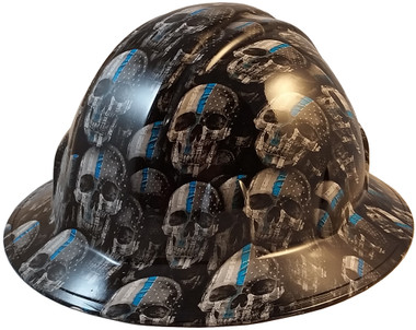 Thin Blue Line USA Flag and Skulls Hydro Dipped Hard Hats Full Brim Style  - Oblique View