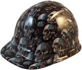 Thin Blue Line USA Flag and Skulls Hydro Dipped Hard Hats Cap Style - Oblique View