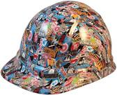 Superhero Sticker Bomb Hydro Dipped Cap Style Hard Hats - Oblique View